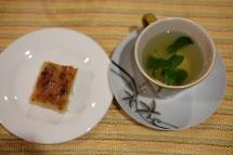 Tea and cassava cake
